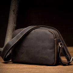 Coffee Cool Leather Side Bag Small Postman Bag Messenger Bag Courier Bag for Men