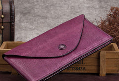 Genuine Leather Wallet Vintage Envelop Wallet Card Holder Purse Clutch For Women