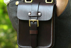Genuine Leather Mens Hip Bag Cool Waist Bag iPad Bag  Bike Bag Cycling Bag For Men
