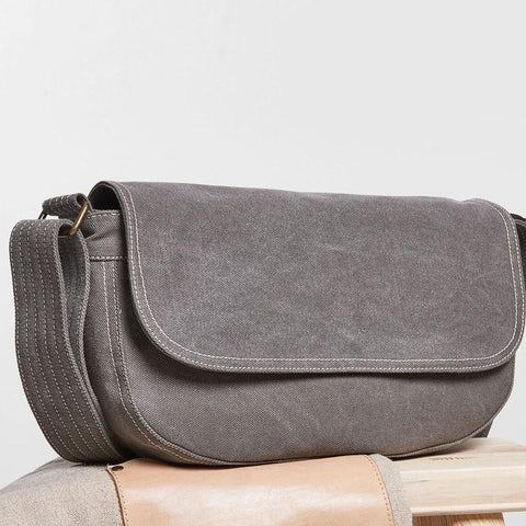 Mens Canvas Gray Cool Messenger Bag Side Bag Shoulder Bag for Men