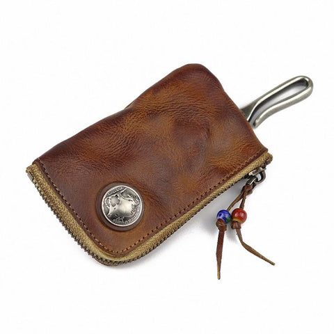 Vintage Brown Leather Men's Car Key Wallet Black Zipper Key Wallet For Men