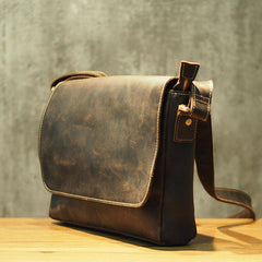 Cool Leather Mens Coffee Messenger Bag Side Bag Small Shoulder Bag for Men