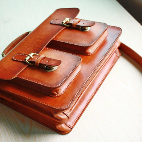 Cool Handmade Leather Mens Messenger Bag Briefcase School Bag for men