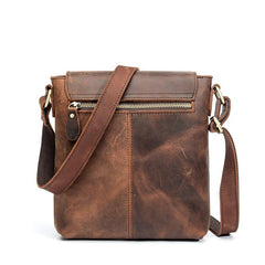Vintage Brown Leather Men's Vertical Messenger Bag Small Side Bag Vertical Messenger Bag For Men