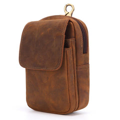 Cool Brown Leather Men's Cell Phone Holster Brown Belt Bag Waist Belt Pouch For Men