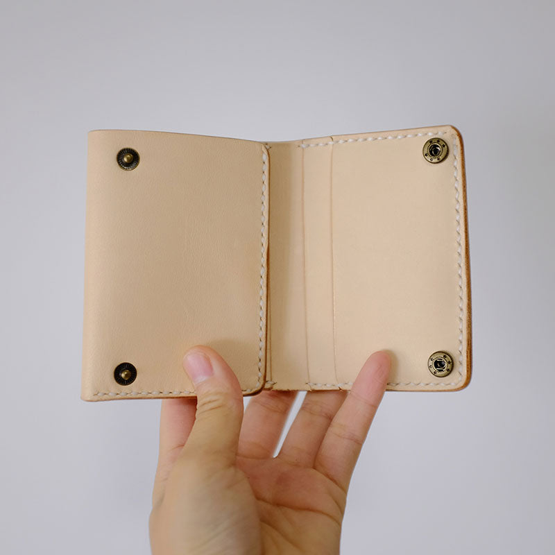 Handmade LEATHER Beige Womens Trifold Small Wallet Leather Small Wallet FOR Women