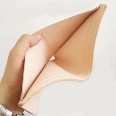Handmade Mens Leather Beige Short Small Wallet Cool Small Slim Bifold Wallets for Men