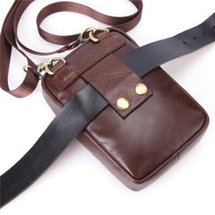 Fashion Brown Leather Men's Belt Pouch Waist Bag Black Mini Side Bag For Men