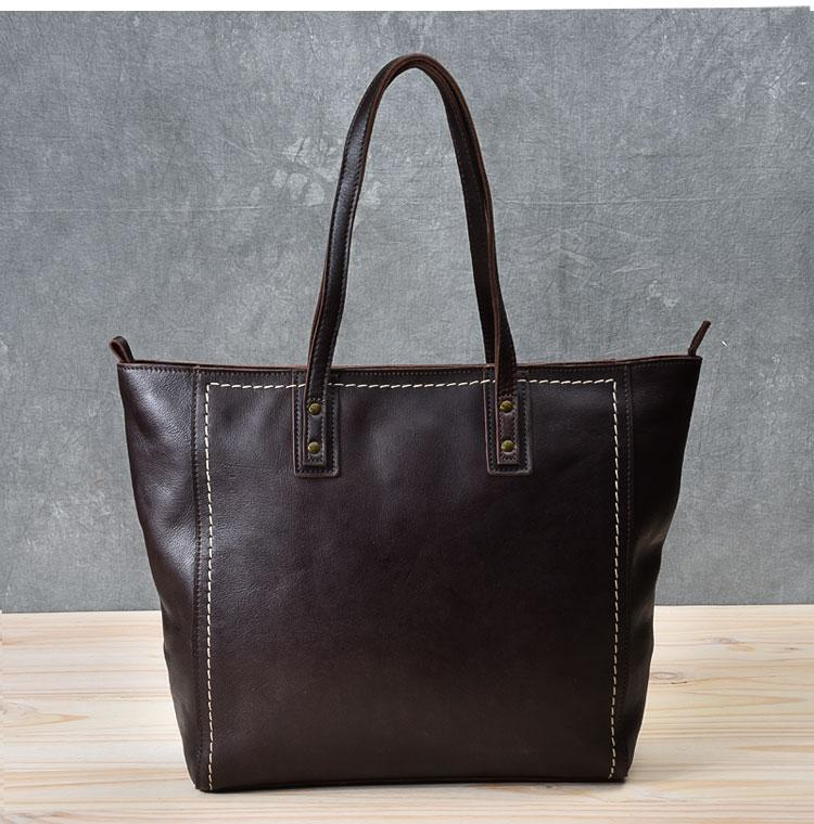 "Leather Mens Womens 15"" Large Shoulder Bag Brown Tote Bag Large Side Bag Dark Coffee Handbag For Men"