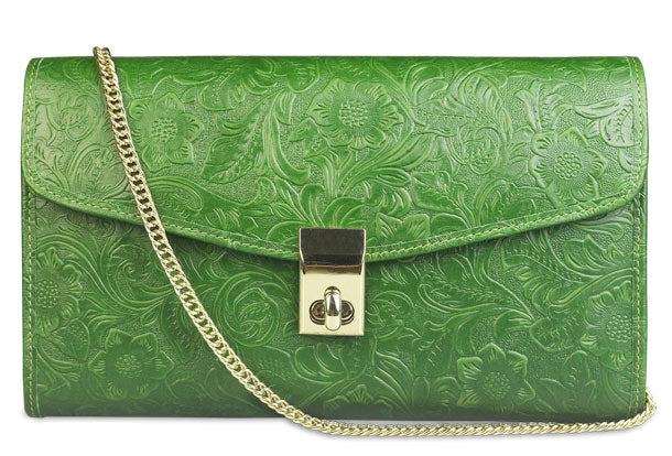 Handmade leather shoulder bag purse wallet floral leather clutch wallet for women