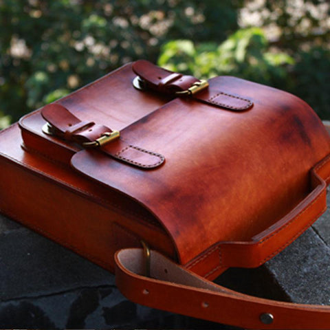 Handmade Vintage Brown Leather Mens School Shoulder Bag Messenger Bag for Men