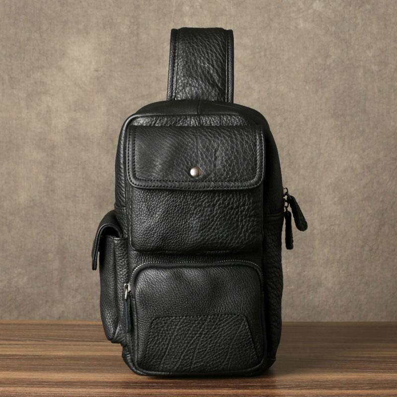 Leather Mens Cool Sling Bag Chest Bag Sling Shoulder Bags for men