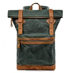 Waxed Canvas Leather Mens 15'' Hiking Green Backpack Black Computer Backpack Travel Backpack for Men