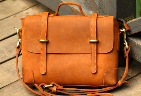 Vintage Leather Mens Messenger Bag Briefcase Side Bag Brown Work Bag Business Bag For Men