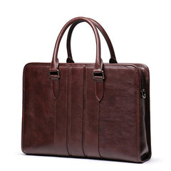 Vintage Brown Leather Men's 14'' Laptop Briefcase Professional Briefcase Handbag For Men