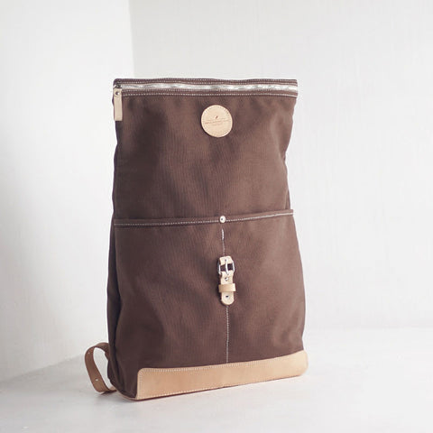 Handmade Womens Canvas Leather Backpack Hiking Backpack Travel Backpack for Women
