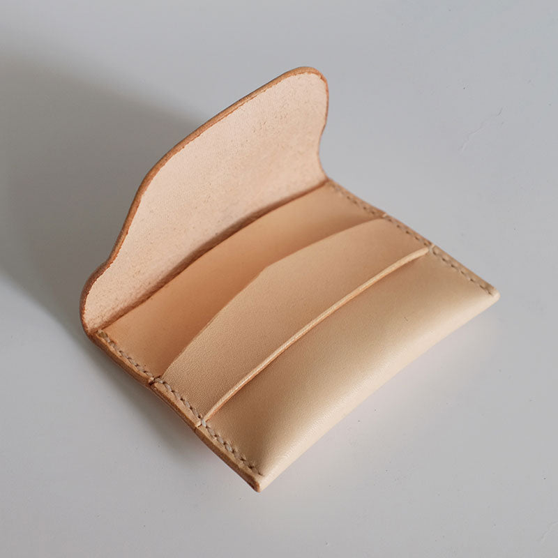 Handmade LEATHER Beige Womens Small Card Wallet Leather Small Coin Change Wallet FOR Women