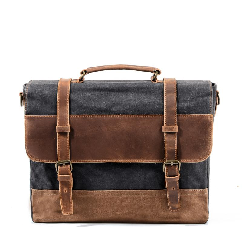 "Cool Waxed Canvas Leather Mens 15.6"" 15'' Waterproof Travel Side bag Computer Handbag Messenger Bag for Men"