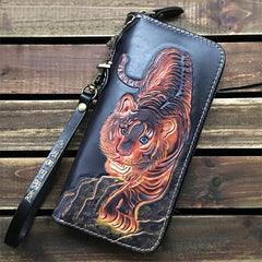 Black Handmade Tooled Leather Totem Clutch Wallet Wristlet Bags Clutch Purse For Men