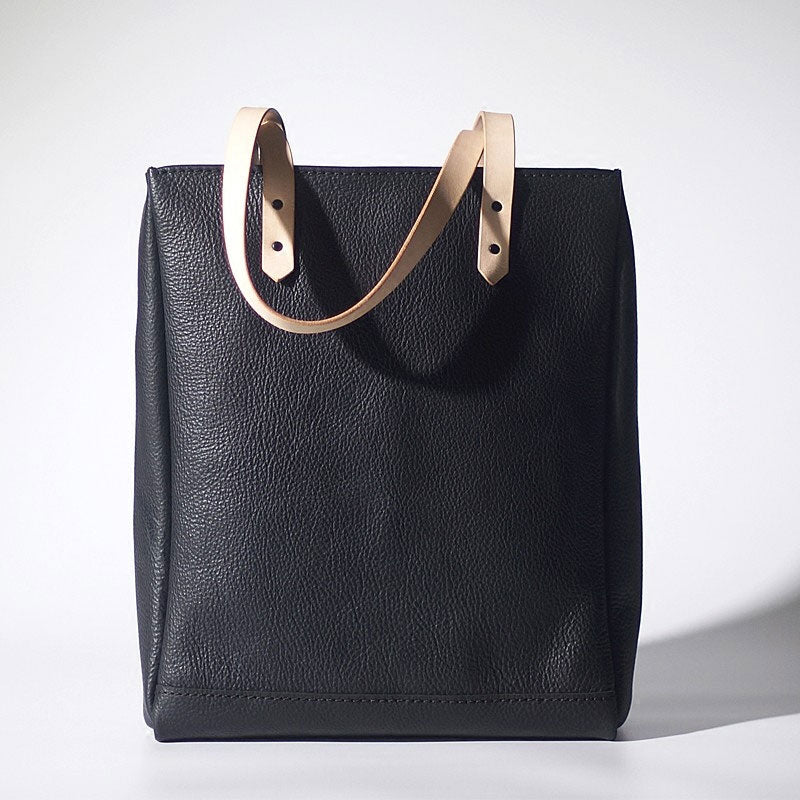 Handmade Black Leather Tote Purses Shoulder Bag Shopper Tote Bag for Women