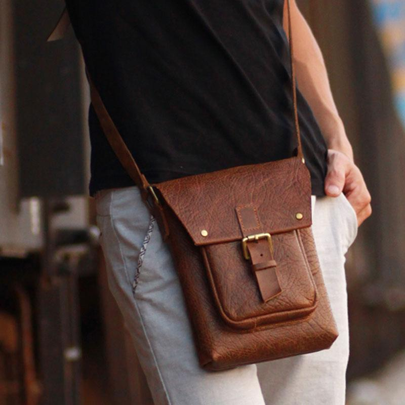 0ca88f438f1 Handmade Vintage Leather Mens Small Messenger Bag Coffee Cell Phone Sh