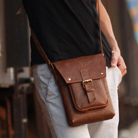 Handmade Vintage Leather Mens Small Messenger Bag Coffee Cell Phone Shoulder Bag for Men