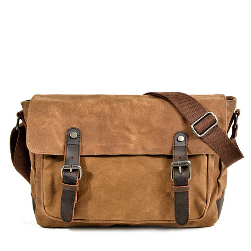 Cool Waxed Canvas Leather Mens Gray Casual Waterproof Side Bag 12'' Messenger Bag For Men