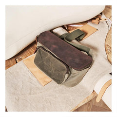 Vintage Canvas Green Leather Mens Fanny Pack Canvas Waist Bags Canvas Hip Pack for Men