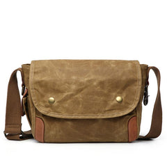 Cool Waxed Canvas Leather Mens Casual Messenger Bag Small Postman Bag Side Bag For Men