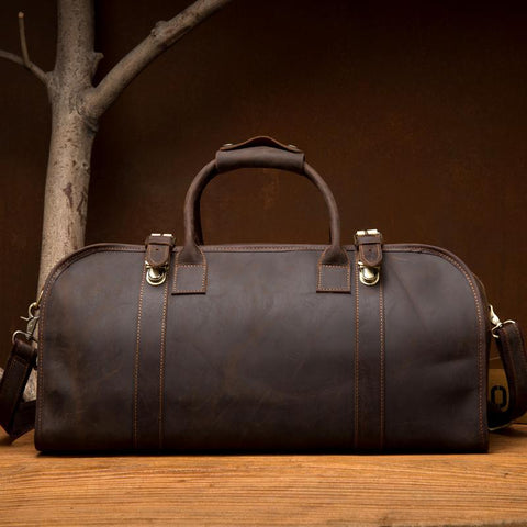 Cool Leather Mens Weekender Bag Shoulder Travel Bag Duffle Bag Coffee luggage Bag for Men