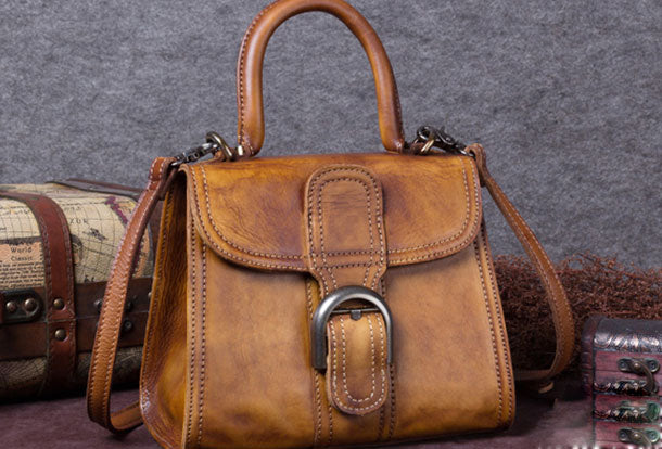 fe38be4a0 Genuine Leather Handbag Vintage Saddle Bag Shoulder Bag Crossbody Bag