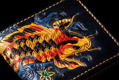 Handmade leather tooled fish carp wallet clutch black billfold wallet brown leather men