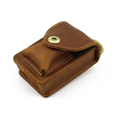 Brown Leather Cigarette Bag Holster Waist Pouches Dark Brown Belt Pouch Belt Bag For Men