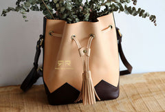 Handmade Leather bucket purse for women crossbody bag leather shoulder bag
