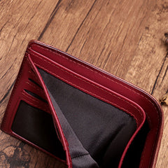 Vintage Brown Leather Womens Bifold Small Wallet Red billfold Wallet for Women