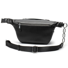 Black MENS LEATHER FANNY PACK BUMBAG Fanny Bag Black WAIST BAGS For Men