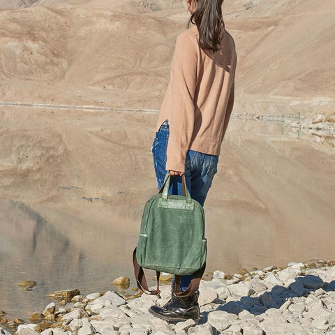Canvas Green Women Cool Backpack Canvas Travel Bag Canvas Handbag for Women