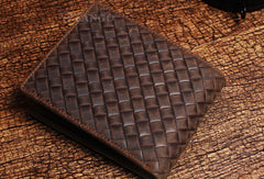 Handmade billfold leather wallet braided leather billfold wallet for men women