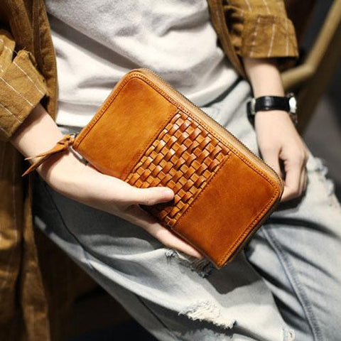 Vintage Brown Braided Leather Long Zipper Clutch Wallet Phone Purse Clutch For Women