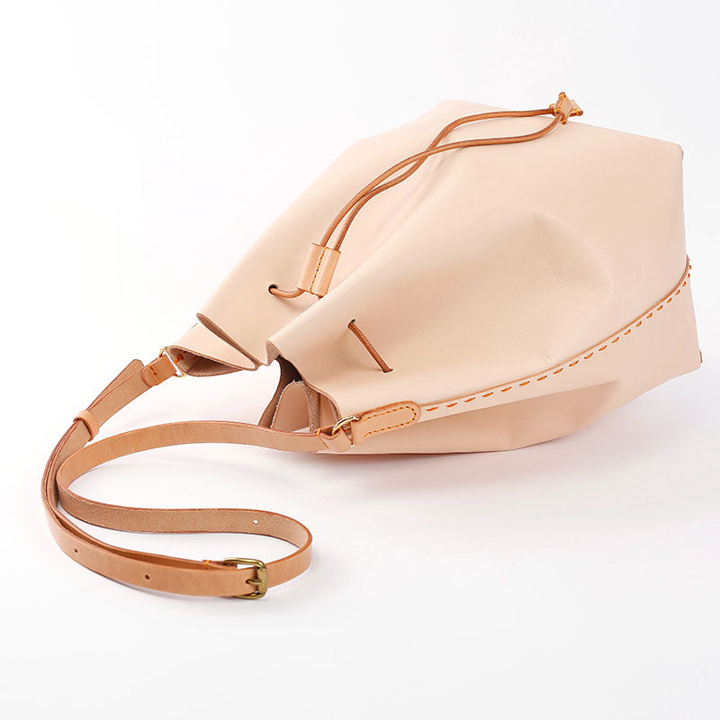 Cute Handmade Leather Womens Bucket Shoulder Bag Barrel Crossbody Purse for Women
