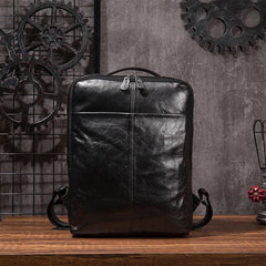 Black Cool Mens Leather Backpack Travel Backpack Leather 15inch Laptop Backpack for Men