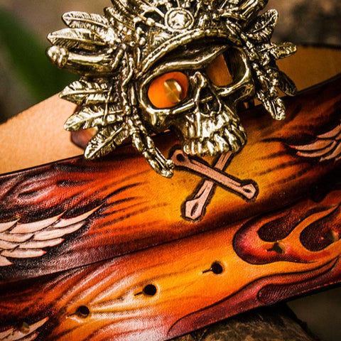 Handmade Cool Brown Leather Tooled Skull Mens Belt Leather Men Belt for Men