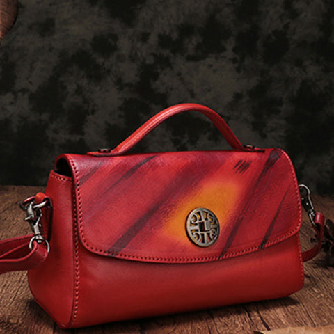 Vintage Handmade Leather Red Womens Handbag Shoulder Bag Red Purse For Women