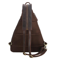 Vintage Large Brown Leather Men's Sling Bag Chest Bag One Shoulder Backpack For Men
