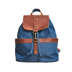 Canvas Leather Mens Womens Backpack Travel Backpack Blue Satchel Rucksack Canvas School Backpack for Men Women