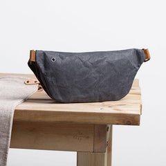 Gray Cool Canvas Mens Sling Bag Chest Bag One Shoulder Packs for men