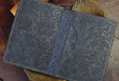 Handmade Short Leather Wallet Floral Leather Short Passport Wallet Purse For Men Women
