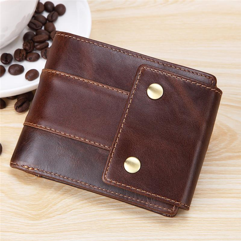 Cool Brown Leather Men's Trifold Small Wallet Multi-cards billfold Wallet For Men