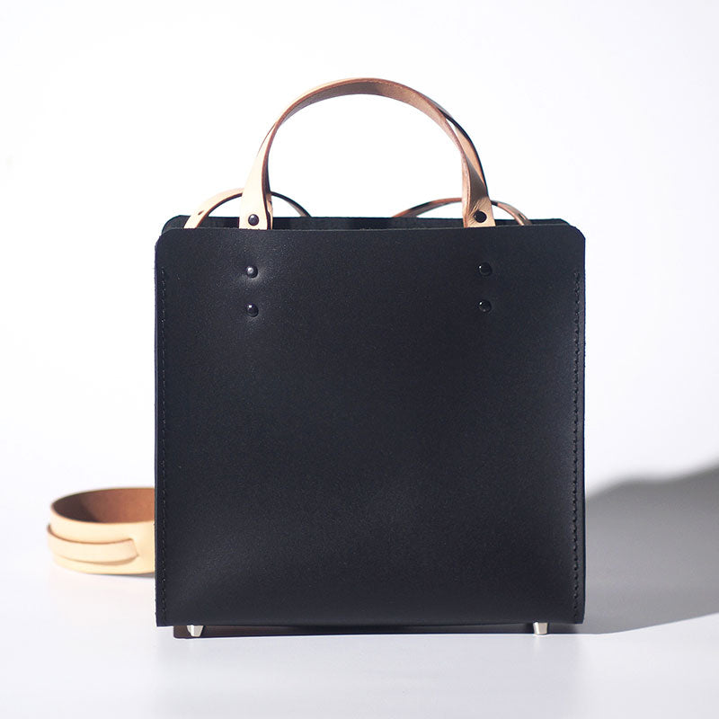 Handmade Leather Black Womens Tote Purses Handbag Tote Bag for Women
