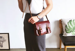 Genuine Leather Cute Crossbody Bag Messenger Bag Shoulder Bag Women Girl Leather Satchel Bag Purse